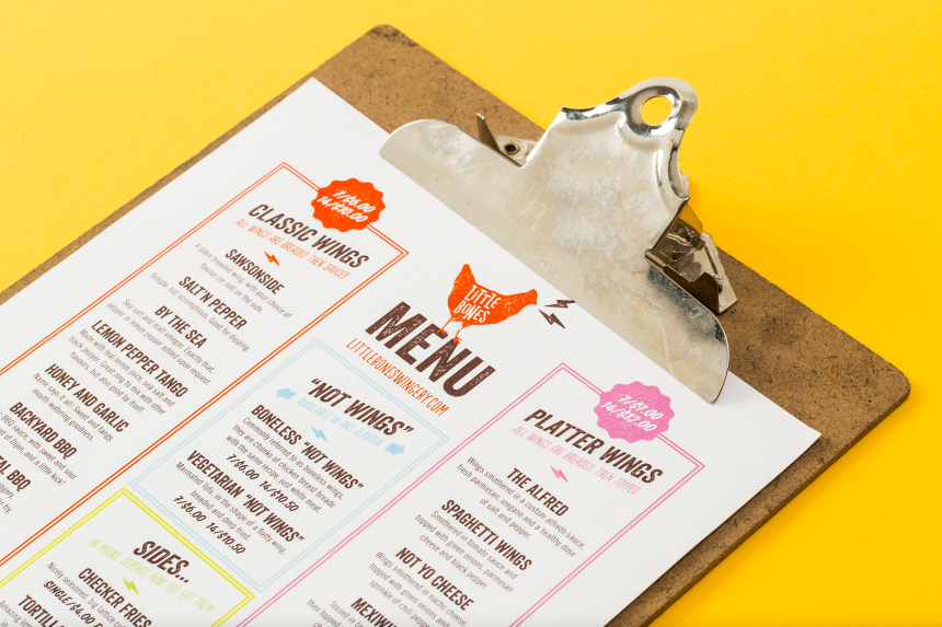 Little Bones Menu Design - One Plus One Design