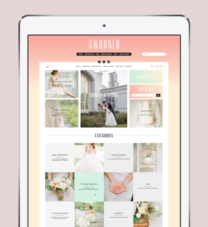 Swooned Website Design - One Plus One Design